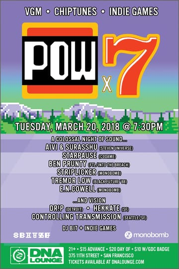 Pow: Pow x7: A Colossal Night of Sound and Vision Flyer