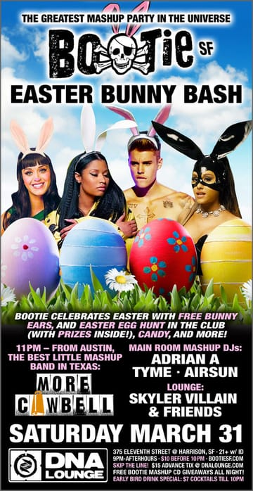 Bootie SF: Easter Bunny Bash w/ More Cowbell Flyer