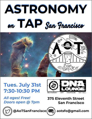 Astronomy on Tap! Science! Summer in San Francisco, when it's colder than the 	surface of Mars and all the academics are difficult to pin down due 	to their extended vacations. Despite this, enough of them have 	spontaneously scattered to the same location for another round of 	Astronomy on Tap! Come to DNA Lounge for another night of talks from 	local scientists, Astronomy in the News, trivia and prizes. We will 	also feature prizes from our friends at Universe Sandbox!