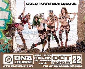 Monday Night Hubba: Gold Town Burlesque Flyer