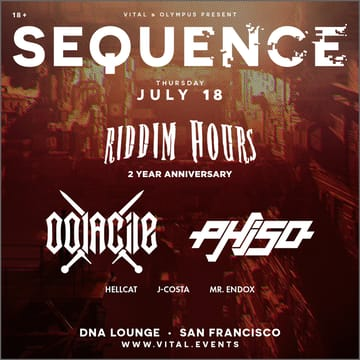 Sequence: Riddim Hours 2 Year Anniversary! 	Dubstep! Heavy, relentless rhythm is Oolacile's bread and 	butter. The sound designer/DJ (SoCal native Cooper Medearis) may be 	young, but he's already carved out his own dark dubstep niche in a 	few short years. A certain level of darkness is expected from a 	producer who takes his name from a lost, cursed land in the video 	game Dark Souls. Experimenting is the key to Oolacile's signature 	bass music: crunching and distorting until a once-simple sound until 	it evolves into an aggressive earworm.