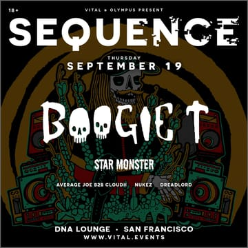 Sequence: Boogie T! 	Dubstep! Main Room: Boogie T. Star Monster. Average Joe 	-b2b- Cloud. Nunez. Dreadlord.