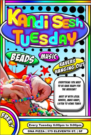Kandi Sesh! 	Rave, Crafting! 🚨🚨 KANDI KIDS, RAVERS & 	PARTY PEOPLE 🚨🚨 	⭐️🌈🍭THIS IS FOR 	YOU!!🍭🌈⭐️ ❤️✨ 	Show off your MASSIVE Kandi collection ❤️✨ 	Trade new pieces & Make new friends! ❤️✨ 	COME MAKE YOUR VERY FIRST KANDI 🌈✨No Need to dress 	up! Come as you are! 🍭✨Bring your friends 	💚💙 Make yourself at HOME🏡 and have a 	fantastic time!! 💚💙 ❤️ Peace 🧡 	Love 💛 Unity 💚 Respect 💙