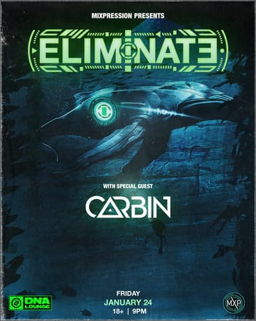 "Eliminate & Carbin! 	Dubstep, Trap! In the wake of Eliminate joining the Disciple 	exclusive roster, the young bass producer has gone from strength to 	strength. From His label debut 'Walls', to monster collab and 	Spotify breakthrough hit ""Party Starter"" with Flux 	Pavilion, and recent releases ""Drive"" (Mad Decent) & 	'Bump' (Never Say Die), he shows no sign of slowing down! American 	producer McKenzie Morrow, known around the world as Carbin exploded 	onto the scene with a flurry of high quality releases."